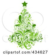 Royalty Free RF Clipart Illustration Of A Leafy Green Christmas Tree