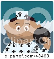 Clipart Illustration Of A Hispanic Prisoner Boy Holding A Ball On A Chain