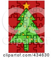 Poster, Art Print Of Puzzle Christmas Tree With Red Garland On Red