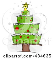 Royalty Free RF Clipart Illustration Of A Plump Cake Christmas Tree
