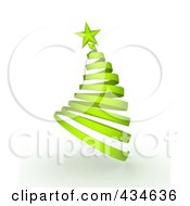 Royalty Free RF Clipart Illustration Of A 3d Green Ribbon Spiral Christmas Tree
