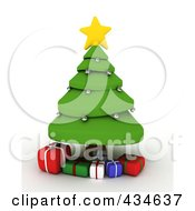 Royalty Free RF Clipart Illustration Of A 3d Christmas Tree Wth Gifts