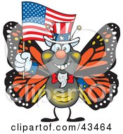 Patriotic Uncle Sam Monarch Butterfly Waving An American Flag On Independence Day