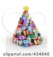 Royalty Free RF Clipart Illustration Of A 3d Christmas Tree Of Gifts