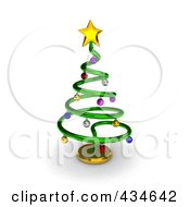 Royalty Free RF Clipart Illustration Of A 3d Metallic Spiral Christmas Tree