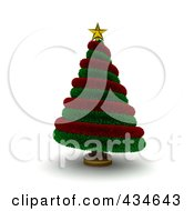 Royalty Free RF Clipart Illustration Of A 3d Red And Green Garland Christmas Tree
