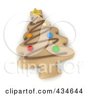 Royalty Free RF Clipart Illustration Of A 3d Christmas Tree Cookie