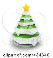 Royalty Free RF Clipart Illustration Of A 3d Christmas Tree With Snow