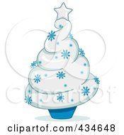 Royalty Free RF Clipart Illustration Of A Blue And White Christmas Tree Cupcake