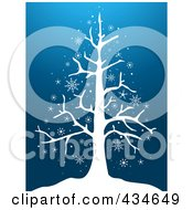 Royalty Free RF Clipart Illustration Of A Bare Tree In The Snow On Blue by BNP Design Studio