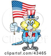 Clipart Illustration Of A Patriotic Uncle Sam Budgie Waving An American Flag On Independence Day