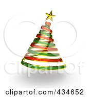 Royalty Free RF Clipart Illustration Of A 3d Red And Green Ribbon Spiral Christmas Tree
