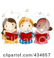 Royalty Free RF Clipart Illustration Of Christmas Kids Singing Carols by BNP Design Studio