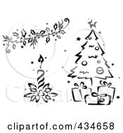 Royalty Free RF Clipart Illustration Of A Digital Collage Of A Black And White Stenciled Christmas Garland Candle And Tree