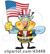 Clipart Illustration Of A Patriotic Uncle Sam Bee Waving An American Flag On Independence Day