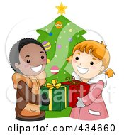 Royalty Free RF Clipart Illustration Of A Christmas Boy And Girl Exchanging Gifts by BNP Design Studio