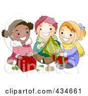 Royalty Free RF Clipart Illustration Of Diverse Christmas Kids Opening Gifts