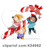 Royalty Free RF Clipart Illustration Of Diverse Christmas Kids Playing On A Giant Candy Cane by BNP Design Studio