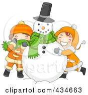 Royalty Free RF Clipart Illustration Of A Boy And Girl Hugging A Snowman