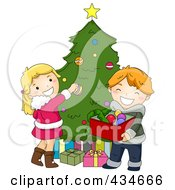 Royalty Free RF Clipart Illustration Of Christmas Kids Decorating A Christmas Tree