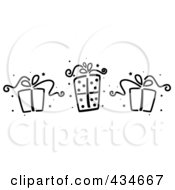 Royalty Free RF Clipart Illustration Of A Digital Collage Of Black And White Stenciled Gifts