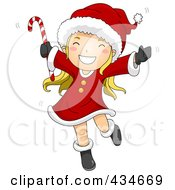 Royalty Free RF Clipart Illustration Of A Happy Christmas Girl Dancing And Holding A Candy Cane by BNP Design Studio