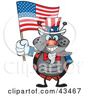 Clipart Illustration Of A Patriotic Uncle Sam Beetle Waving An American Flag On Independence Day