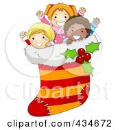 Royalty Free RF Clipart Illustration Of Diverse Christmas Kids In A Stocking by BNP Design Studio