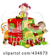 Royalty Free RF Clipart Illustration Of Christmas Kids Working In A Gift Factory