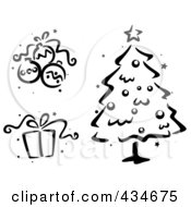 Royalty Free RF Clipart Illustration Of A Digital Collage Of A Black And White Stenciled Christmas Baubles Gift And Christmas Tree