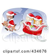 Diverse Christmas Kids Flying In Santas Sleigh