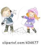 Royalty Free RF Clipart Illustration Of A Winter Boy And Girl Throwing Snow Balls
