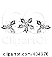 Royalty Free RF Clipart Illustration Of A Digital Collage Of Black And White Stenciled Christmas Holly