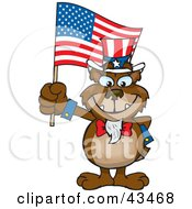 Clipart Illustration Of A Patriotic Uncle Sam Bear Waving An American Flag On Independence Day