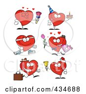 Royalty Free RF Clipart Illustration Of A Digital Collage Of Heart Characters 1