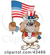 Clipart Illustration Of A Patriotic Uncle Sam Bulldog Waving An American Flag On Independence Day by Dennis Holmes Designs