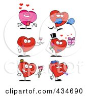 Royalty Free RF Clipart Illustration Of A Digital Collage Of Heart Characters 3