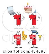 Royalty Free RF Clipart Illustration Of A Digital Collage Of Number One Characters by Hit Toon