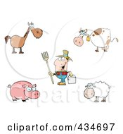 Royalty Free RF Clipart Illustration Of A Digital Collage Of Farm Animals And A Farmer by Hit Toon