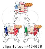 Royalty Free RF Clipart Illustration Of A Digital Collage Of Pizza Chef Banners by Hit Toon