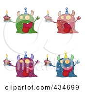 Royalty Free RF Clipart Illustration Of A Digital Collage Of Birthday Monsters