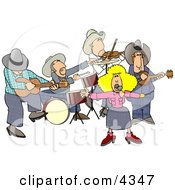 Country Western Band Playing Country Music Clipart
