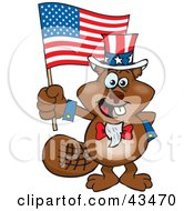 Patriotic Uncle Sam Beaver Waving An American Flag On Independence Day