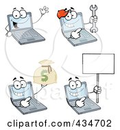 Royalty Free RF Clipart Illustration Of A Digital Collage Of Laptop Characters