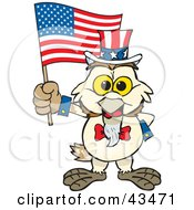 Clipart Illustration Of A Patriotic Uncle Sam Barn Owl Waving An American Flag On Independence Day by Dennis Holmes Designs