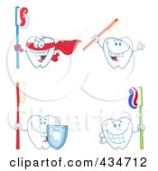 Royalty Free RF Clipart Illustration Of A Digital Collage Of Tooth Characters 1