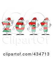 Royalty Free RF Clipart Illustration Of Green And Red 2011 New Year Characters Wearing Santa Hats