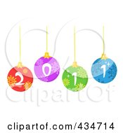 Royalty Free RF Clipart Illustration Of Colorful 2011 New Year Baubles