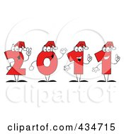 Royalty Free RF Clipart Illustration Of Red 2011 New Year Characters Wearing Santa Hats