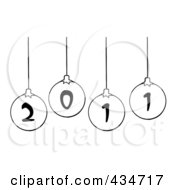 Royalty Free RF Clipart Illustration Of Black And White 2011 New Year Baubles
